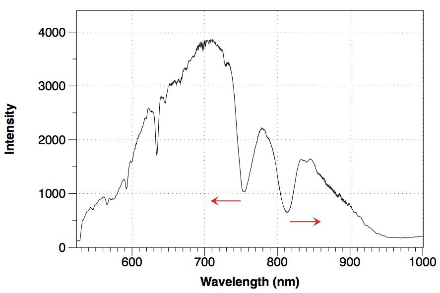 First sensor light spectrum